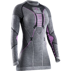 X-Bionic Apani 4.0 T-shirt Manches longues Col rond Mérinos Femme, black/grey/magnolia